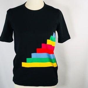 Vintage Shirt Colorblock 70's Small Rainbow